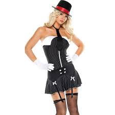 Woman Gangster Halloween Costumes 5pc Money Gangster N2903
