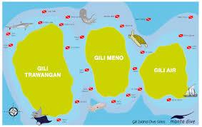 Map Of Coral Reefs Gili Islands Dive Sites Clickable Map Manta Dive Resort Gili Air