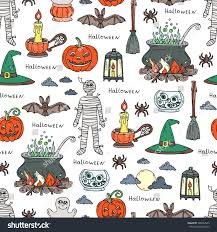the background of halloween vector hand drawn pattern on theme stock vector 306634565