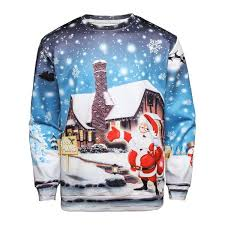 wholesale christmas santa house print pullover sweatshirt xl