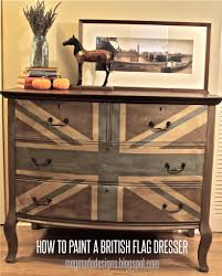 How To Paint A Table Painting A Union Jack British Flag On A Dresser Tutorial Megmade