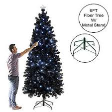 black pencil slim tree spruce fiber optic white blue leds