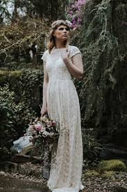 ivory or white lace bohemian backless wedding gown simple and