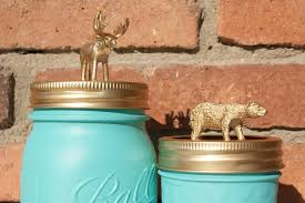 turquoise mason jar with golden lid animal hand painted home