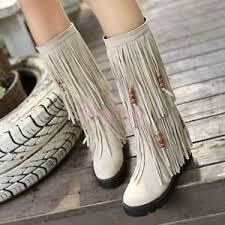 s boots plus size calf toe womens tassel fringe bohemia mid calf moccasin