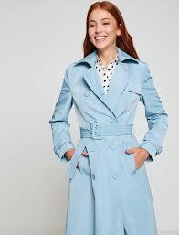 light blue trench coat baby blue women tie waist trenchcoat 8yak06551ewaa1 koton