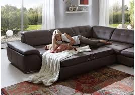 Wohnzimmerschrank Mit Bettfunktion Wohnlandschaft Mit Schlaffunktion Und Hocker Echtleder Mocca Braun