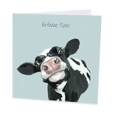 Cow Birthday Card Cow Greeting Card Birthday Kisses Gingerinteriors Co Uk