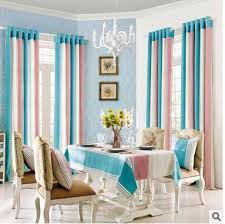 Pink Striped Curtains New Arrival 3 Color Curtains Finished Blue And Pink Striped Korean