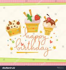 vector happy birthday card cute ice stock vector 595621943