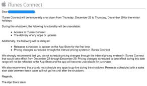 itunes connect to shut december 22 29 for winter holidays