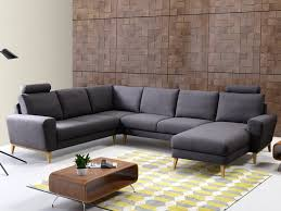 canapé panoramique tissu canapé d angle panoramique en tissu bleu ou gris visby