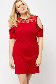 red lace insert cold shoulder dress just 5
