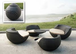 Black Outdoor Wicker Chairs Patio Round Black Wicker Patio Set For Modern Patio Decor