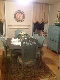 blue painted dining table thomasville blue painted dining room table and cane back chairs