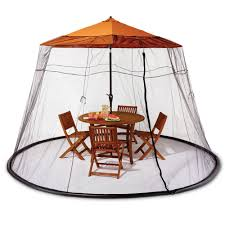 Umbrella For Patio Table by The Patio Table Mosquito Canopy Hammacher Schlemmer