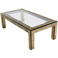 Rectangular Coffee Table With Glass Top Rectangular Glass Top Brass And Wood Base Coffee Table By