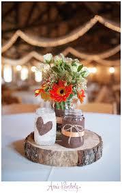 wood log vases burlap and jar wood centerpiece amie reinholz photography