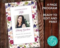 print funeral programs printable funeral program template instant ready to edit