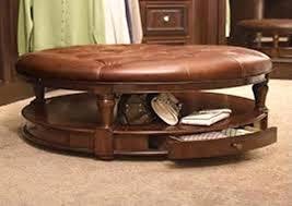 ottoman tufted round vintage leather storage ottoman round
