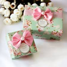 floral gift box 60 60 42mm 50pcs floral bow paper box for wedding candy macaron