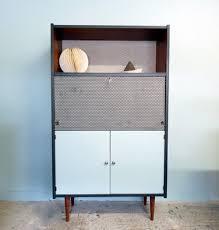 le de bureau bleu secrétaire vintage couleur acajou revisité en gris noir et bleu