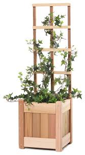 2 piece set planter with trellis traditional outdoor pots and