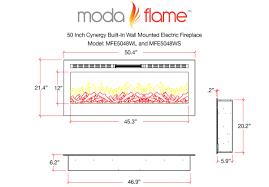 moda flame mfe5048ws 1 500 watts 50 inch cynergy pebble stone