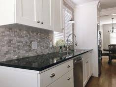 BuildDirect  Granite Countertops  Black Galaxy Kitchen View - Backsplash for black granite