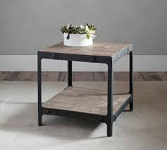 Wood And Metal End Table Clint Reclaimed Wood Side Table Pottery Barn