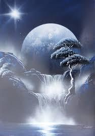 spray paint art dark blue black white nature painting made by