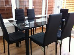 Black Dining Table Stunning Glass Black Dining Table Set And 6 Faux Leather Chairs