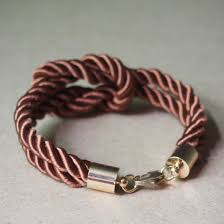 Handmade Mens Bracelets - nautical knotted rope bracelet for brown silk rope with gold
