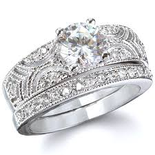 queen victoria vintage style sterling silver cz wedding ring set