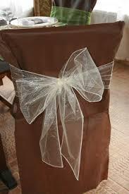 housses de chaises mariage noeuds en organza pour housses de chaises ivoire x10 déco