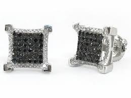 black diamond earrings mens 10k white gold black diamond square stud earrings dz designs nyc