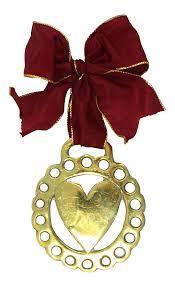 antique english horse brass heart ornament chairish