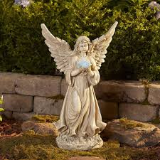Ceramic Garden Decor Large Garden Angel Statue Holding Solar Light Outdoor Patio Lawn