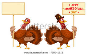 one turkey holds blank banner another stock vector 720941815