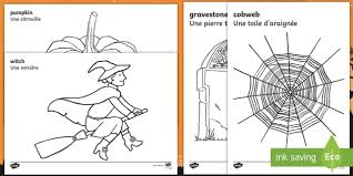 halloween colouring pages english french halloween colouring