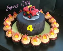 Flame Decorations Blaze Monster Machine Cake And Flame Cupcakes Combo Cupcake And