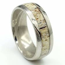 deer antler wedding band the aspen damascus steel deer antler wedding band manly bands