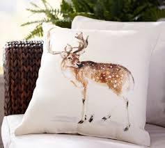 painted deer indoor outdoor pillow pottery barn
