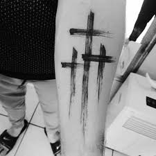 guys inner forearm simple christian paint brush stroke cross