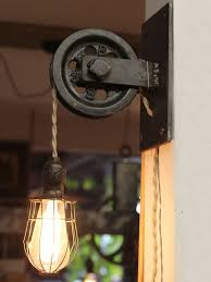 Edison Bulb Wall Sconce Rustic Farmhouse Pulley Pendant Light Pulley Light Pulley And