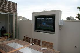 durable white concrete outdoor tv mount wall for private rooftop alfresco jpg
