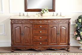63 inch antique double bathroom vanity chestnut finish