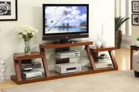 Dark Wooden Tv Stands Tv Stand With Side Shelves In Dark Oak Finish