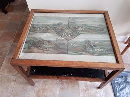 vintage u0027david joel u0027 art deco coffee table with hunting scene