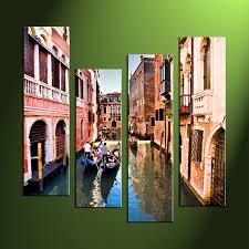 4 piece colorful city huge canvas art